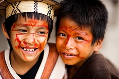 Asháninka boys with face paint, Acre, 2010