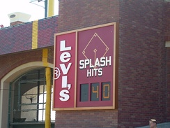 "The ""Splash Hit"" counter on the right field wall"