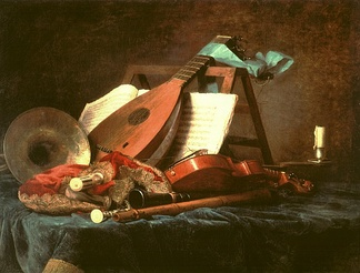 Anne Vallayer-Coster, Attributes of Music, 1770. This still life painting depicts a variety of French Baroque musical instruments, such as a natural horn, transverse flute, musette, pardessus de viole, and lute.