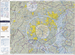 Aviation chart showing restricted airspace in the Washington DC area. Camp David is the light circle to the north.