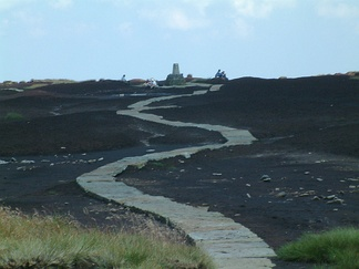 The paved surface of the Pennine Way on Black Hill, Cheshire, England