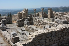 Details of the late antique cathedral complex in Byllis, Albania and the Adriatic sea in the distance.