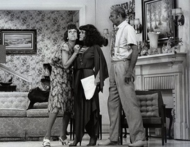 "Carol Burnett, guest star Madeline Kahn, and Harvey Korman in one of a series of ""The Family"" sketches on The Carol Burnett Show, 1976"
