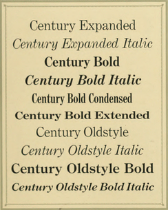 Century types from the ATF specimen book, 1912. Century Schoolbook had not yet been released at this time.