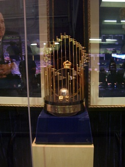 The Commissioner's Trophy at Kauffman Stadium.