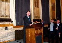 Cameron speaking at a Conservative reception in 2008