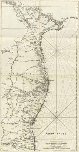 1753 map of the Coromandel Coast ‹See Tfd›(in French)