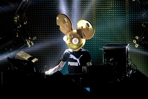 DJ with a mouse head mask performing live