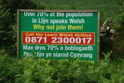 Sign promoting the learning of Welsh