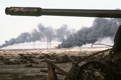 Kuwaiti oil wells on fire, during the Gulf War, 1 March 1991