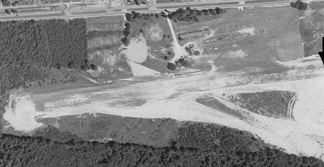 Falls Church Airpark, circa 1950.  The road at the top of the photo is U.S Route 50 (Arlington Blvd)