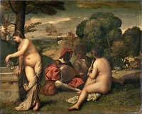 Giorgione, Pastoral Concert. Louvre, Paris. A work which the Louvre now attributes to Titian, c. 1509.[15]