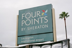 A Four Points sign near Los Angeles International Airport.