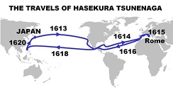 Itinerary and dates of the travels of Hasekura Tsunenaga