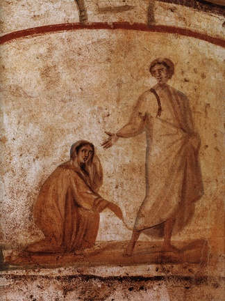 Jesus healing the bleeding woman, Roman catacombs, 300–350