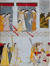 """Celebration of Spring by Krishna and Radha"", 18th-century miniature; in the Guimet Museum, Paris"