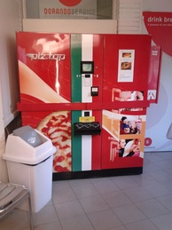 A vending machine in Carpi, Italy that dispenses hot pizza
