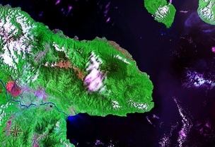 Huon Peninsula seen from space (false color)