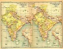 India in 1765 and 1805 showing East India Company Territories in pink.