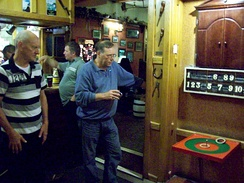 Indoor Quoits being played at a pub in Parkend, Gloucestershire.