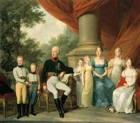Maria Theresa with her husband and children.