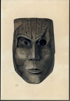 "Water color painting by Wells Moses Sawyer of a carved and painted mask excavated from the ""Court of the Pile Dwellers"""