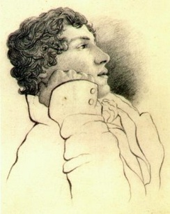 Portrait in pencil of a man in his mid-twenties with medium-length curly hair. He is leaning on his right arm and faces right. He is wearing a white jacket.