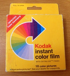 A pack of Kodak PR-10 Satinluxe instant film.