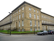 Leazes Terrace, a Grade I listed building, designed by Thomas Oliver and built by Richard Grainger, in 1829–34; now student accommodation.