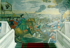 Peter I in the Battle of Poltava, a mosaic by Mikhail Lomonosov