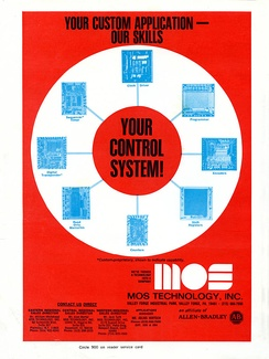 A 1973 MOS Technology advertisement highlighting their custom integrated circuit capabilities