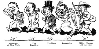 1910 cartoon showing Roosevelt's many roles from 1899 to 1910