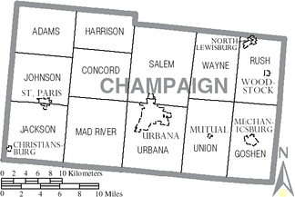 Map of Champaign County, Ohio with Municipal and Township Labels