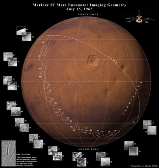 Data collected from Mariner 4's flyby on a modern map