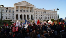 November 2011 protests against austerity measures outside the Assembly of the Republic
