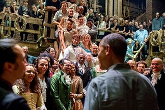 The cast of Hamilton meets President Obama in 2015