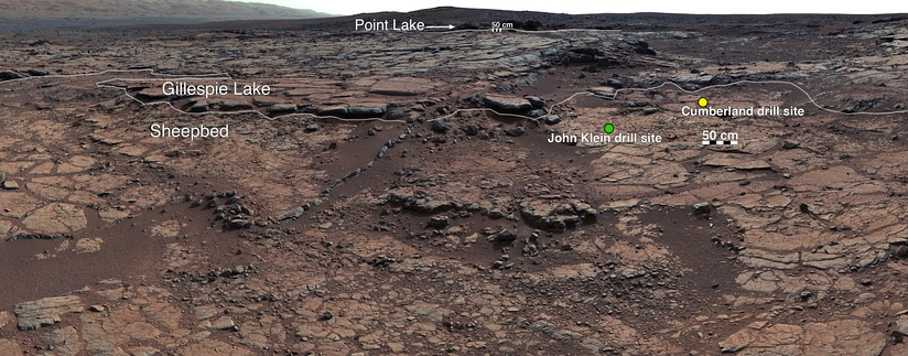 Panorama of rocks and drilling sites near the Curiosity Rover at Yellowknife Bay (December 24, 2012).