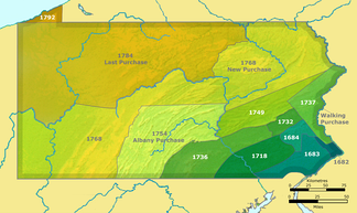 Map showing Pennsylvania and the territory involved in the purchase of 1768.