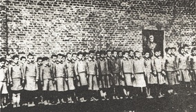 Roll-call for 8-year-old girls at the child labour camp in Dzierżązna, set up as a sub-camp of the concentration camp for Polish children, adjacent to the Łódź Ghetto