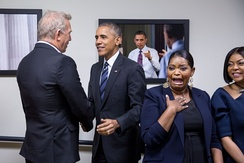 US President Barack Obama greeting Kevin Costner, Octavia Spencer, and Taraji P. Henson on December 15, 2016