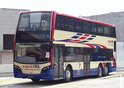 A Rapid KL Alexander Dennis Enviro500 during a test run in Cheras, Malaysia.