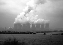 Cooling towers showing evaporating water at Ratcliffe-on-Soar Power Station, United Kingdom