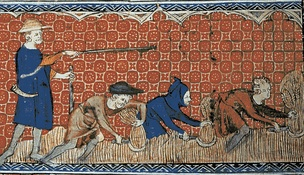 Reeve and serfs in feudal England, c. 1310