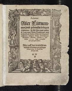 A 1609 title page of the German Relation, the world's first newspaper (first published in 1605)[220][221]