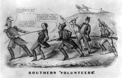 A cartoon from the war, showing the Confederates forcibly drafting a Unionist man into the Confederate army. The Unionist man objects, with the Confederates threatening to lynch him if he does not comply.