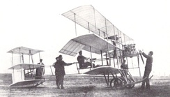 A British Roe III Triplane in the United States in September 1910 with its designer, Alliot Verdon Roe, in the cockpit.