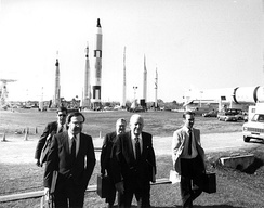 Members of the Rogers Commission arrive at Kennedy Space Center.