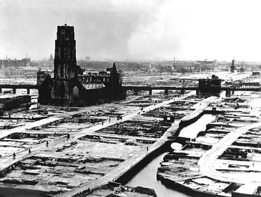 The city of Rotterdam after the German bombing during the German invasion of the Netherlands in May 1940.