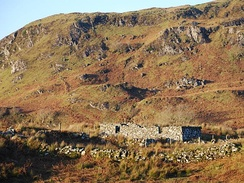 Ruins of a Highland sheiling on marginal land, south of Oban