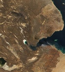 Satellite images of Djibouti during the day (left) and night (right)
